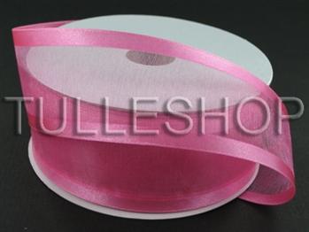 7/8 Inch Hot Pink Organza Ribbon Two Satin Edges