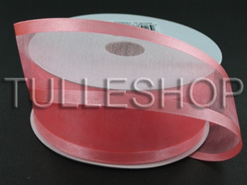 7/8 Inch Coral Organza Ribbon Two Satin Edges