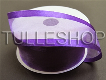 7/8 Inch Purple Organza Ribbon Two Satin Edges