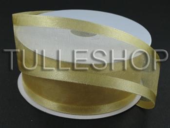 5/8 Inch Gold Organza Ribbon Two Satin Edges