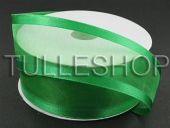 5/8 Inch Emerald Organza Ribbon Two Satin Edges
