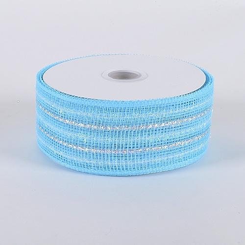 Light Blue Laser Metallic Mesh Ribbon