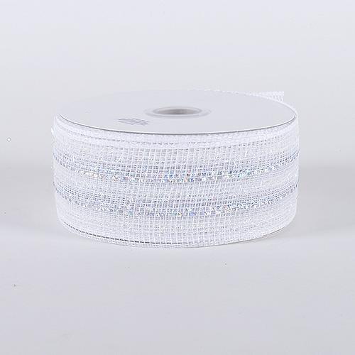 White Irridescent Laser Metallic Mesh Ribbon