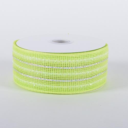 Lime Laser Metallic Mesh Ribbon