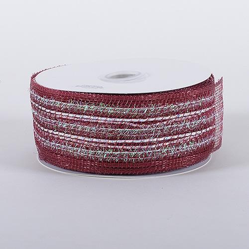 Burgundy Laser Metallic Mesh Ribbon