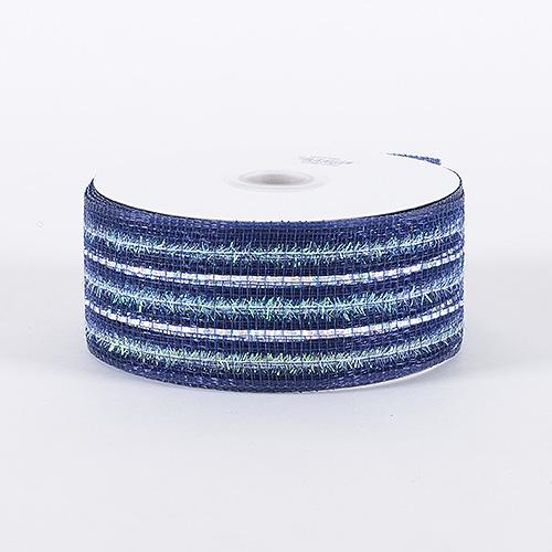 Navy Blue Laser Metallic Mesh Ribbon