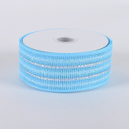 Light Blue Laser Metallic Mesh Ribbon