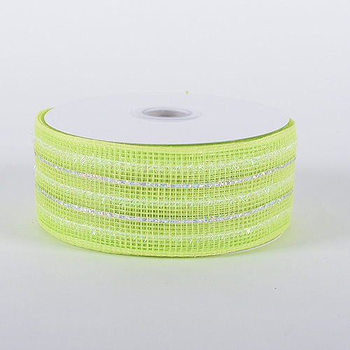 Lime Laser Metallic Mesh Ribbon