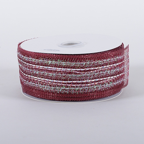 Burgundy Laser Metallic Mesh Ribbon