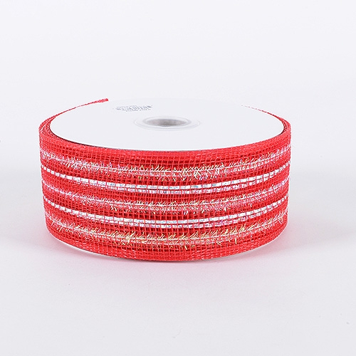 Red Laser Metallic Mesh Ribbon