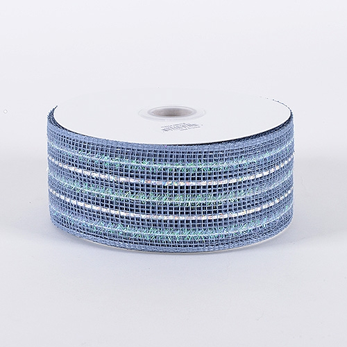 Silver Laser Metallic Mesh Ribbon