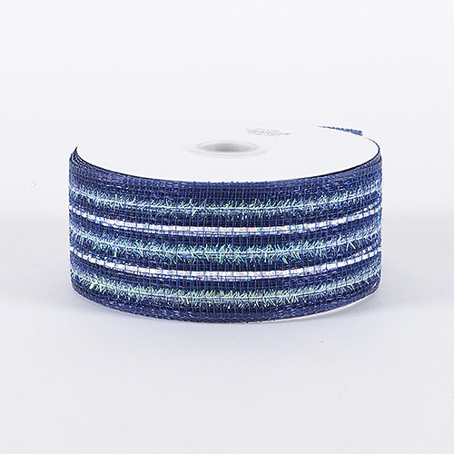 Navy Blue Laser Metallic Mesh Ribbon
