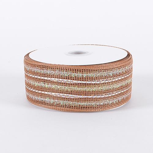 Milky Chocolate Laser Metallic Mesh Ribbon
