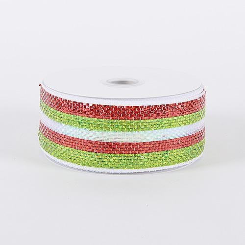 Green Red Laser Metallic Mesh Ribbon