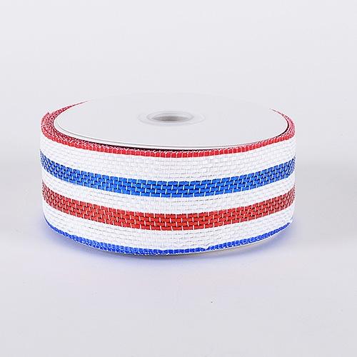 Red White Blue Laser Metallic Mesh Ribbon