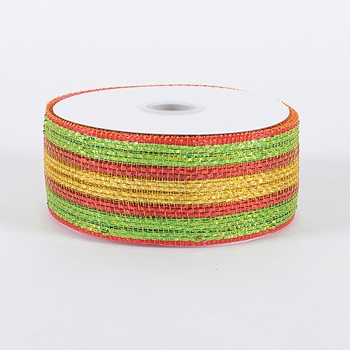 Red Gold Laser Metallic Mesh Ribbon