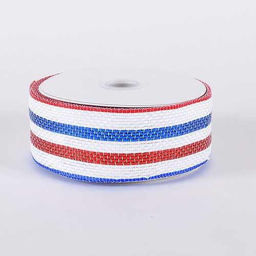 Red White Blue Laser Metallic Mesh Ribbon