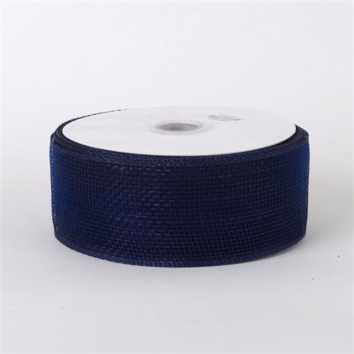 Navy Blue Floral Mesh Ribbon