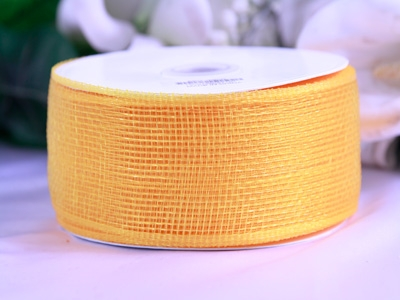 Gold Floral Mesh Ribbon