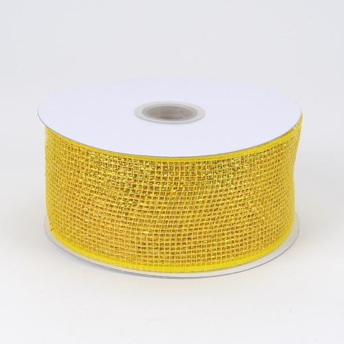 Yellow Metallic Deco Mesh Ribbon