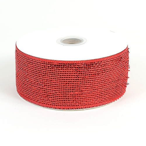 Red Metallic Deco Mesh Ribbon