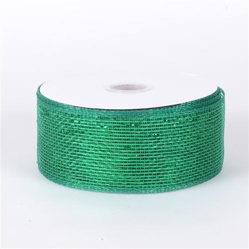 Emerald Metallic Deco Mesh Ribbon