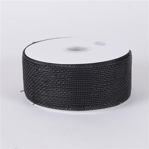 Black Metallic Deco Mesh Ribbon