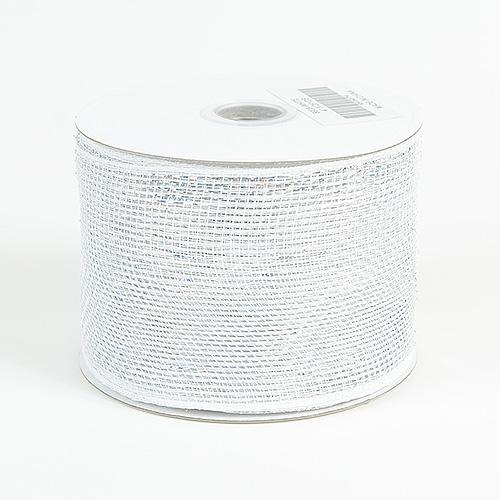 White Metallic Deco Mesh Ribbon
