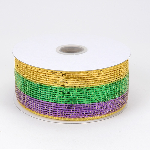 Mardi Gras Metallic Deco Mesh Ribbon