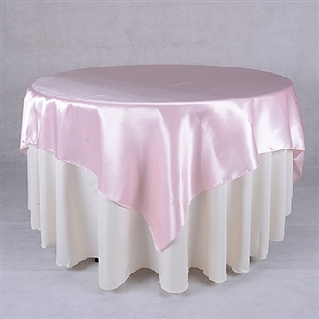 Light Pink 60 x 60 Inch Square Satin Overlays
