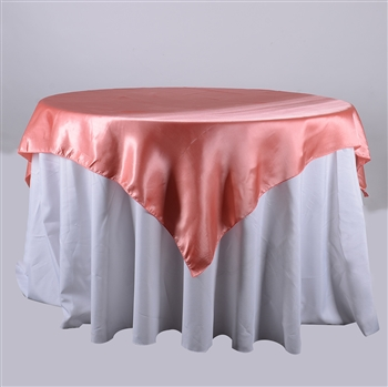 Coral 60 x 60 Inch Square Satin Overlays