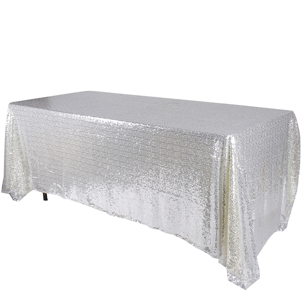 Silver 60x102 inch Rectangular Duchess Sequin Tablecloth