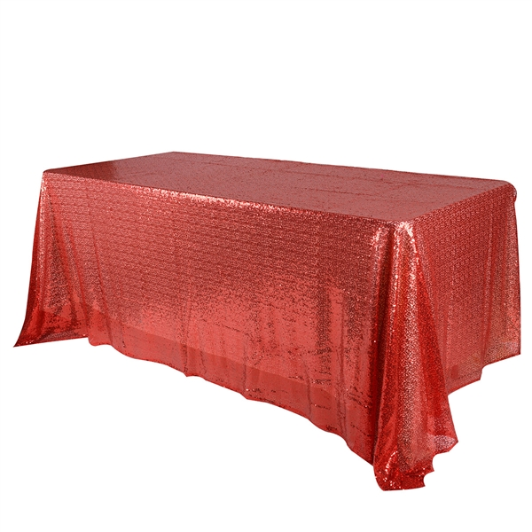 Red 60x126 inch Rectangular Duchess Sequin Tablecloth