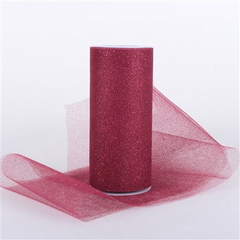 Burgundy Glitter Tulle 6x25 Yards
