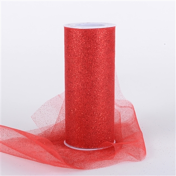 Red Glitter Tulle 6x25 Yards