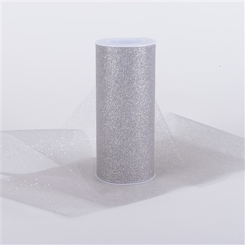Silver Glitter Tulle 6x25 Yards