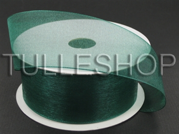 1-1/2 Inch Hunter Green Organza Ribbon