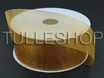 1-1/2 Inch Old Gold Organza Ribbon