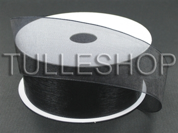 1-1/2 Inch Black Organza Ribbon