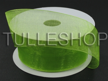 1-1/2 Inch Kiwi Green Organza Ribbon