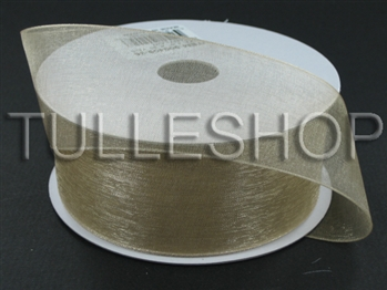 1-1/2 Inch Tan Organza Ribbon