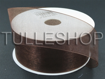 7/8 Inch Brown Organza Ribbon