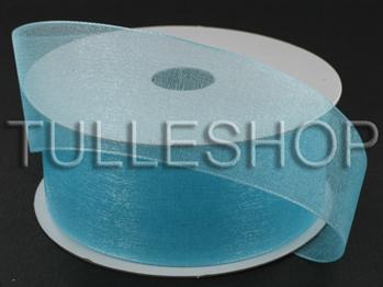 7/8 Inch Aqua Blue Organza Ribbon