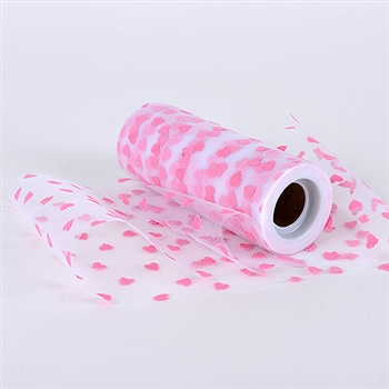 Pink Heart Polka Dot 6 Inch Tulle Roll 10 Yards