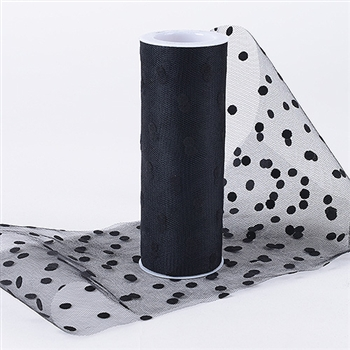 Black 6 Inch Polka Dot Roll 10 Yards