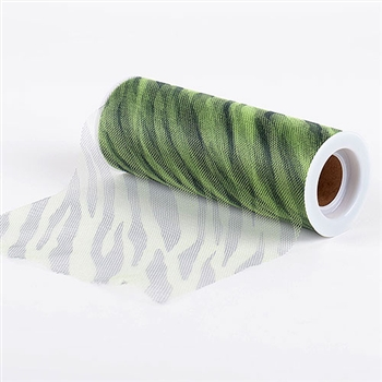 Apple Green Zebra Animal Print Tulle 6x10 Yards