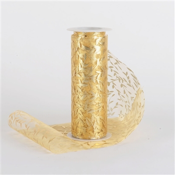 Gold Organza Leaf Roll 6 inch x 10 yards