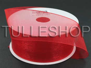 3/8 Inch Red Organza Ribbon