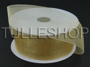 3/8 Inch Gold Organza Ribbon