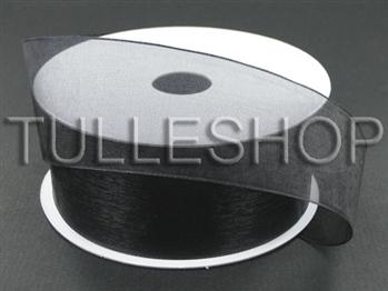 3/8 Inch Black Organza Ribbon